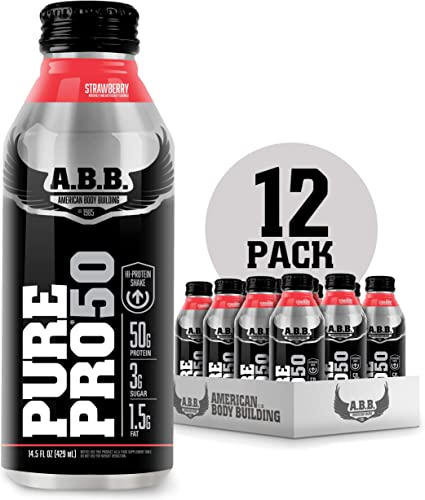 American Body Building Pure Pro 50, Post-Workout Recovery Protein Shake, Muscle Builder, HI-Protein, Low Fat, Low Sugar, Strawberry Flavored, Ready to Drink 14.5 oz Bottles, 12 Count