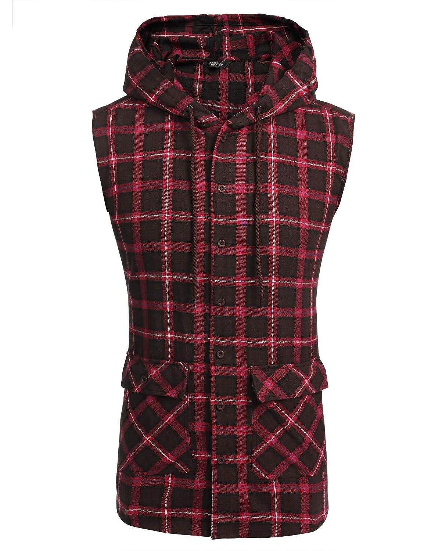 COOFANDY Men's Casual Flannel Plaid Shirt Sleeveless Side Zipper Cotton Plus Size Vest