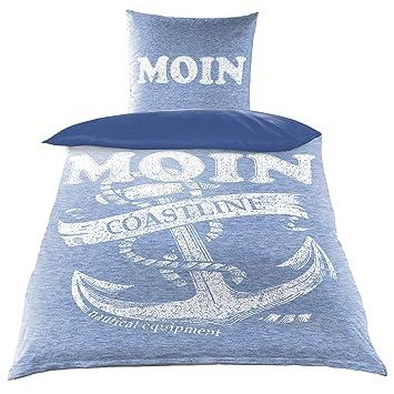 Baumwoll Renforce Bettwäsche 135x200 2 Tlg Anker Maritim Moin Blau