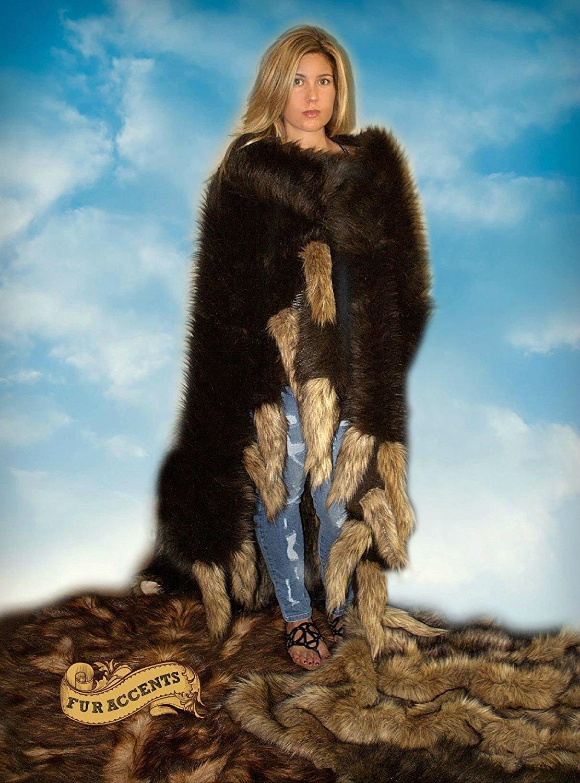 Fur Accents Buffalo Robe / Wolf Tail Throw Blanket / Brown Bear Skin / Pelt / Toss Rug (4'x6') BRNBEARWLFTAILTB