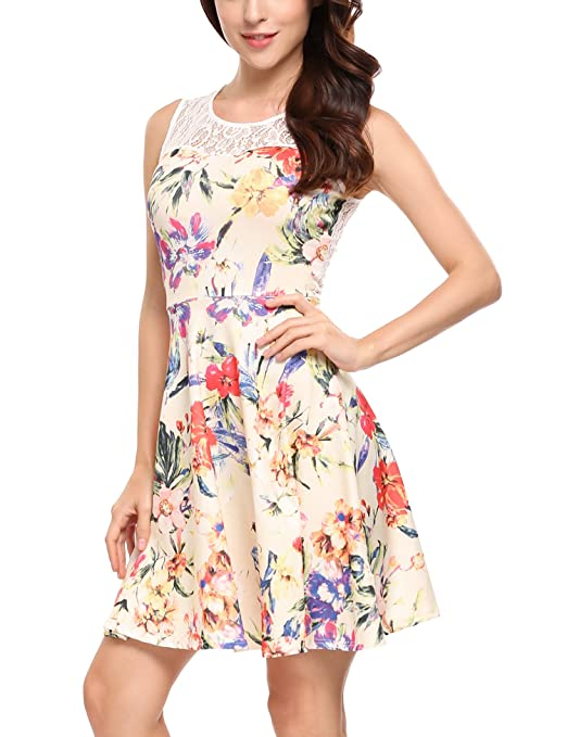 ANGVNS Womens Casual Flare Floral Contrast Sleeveless Party Mini Dress(Pattern, M) at Amazon Womens Clothing store: