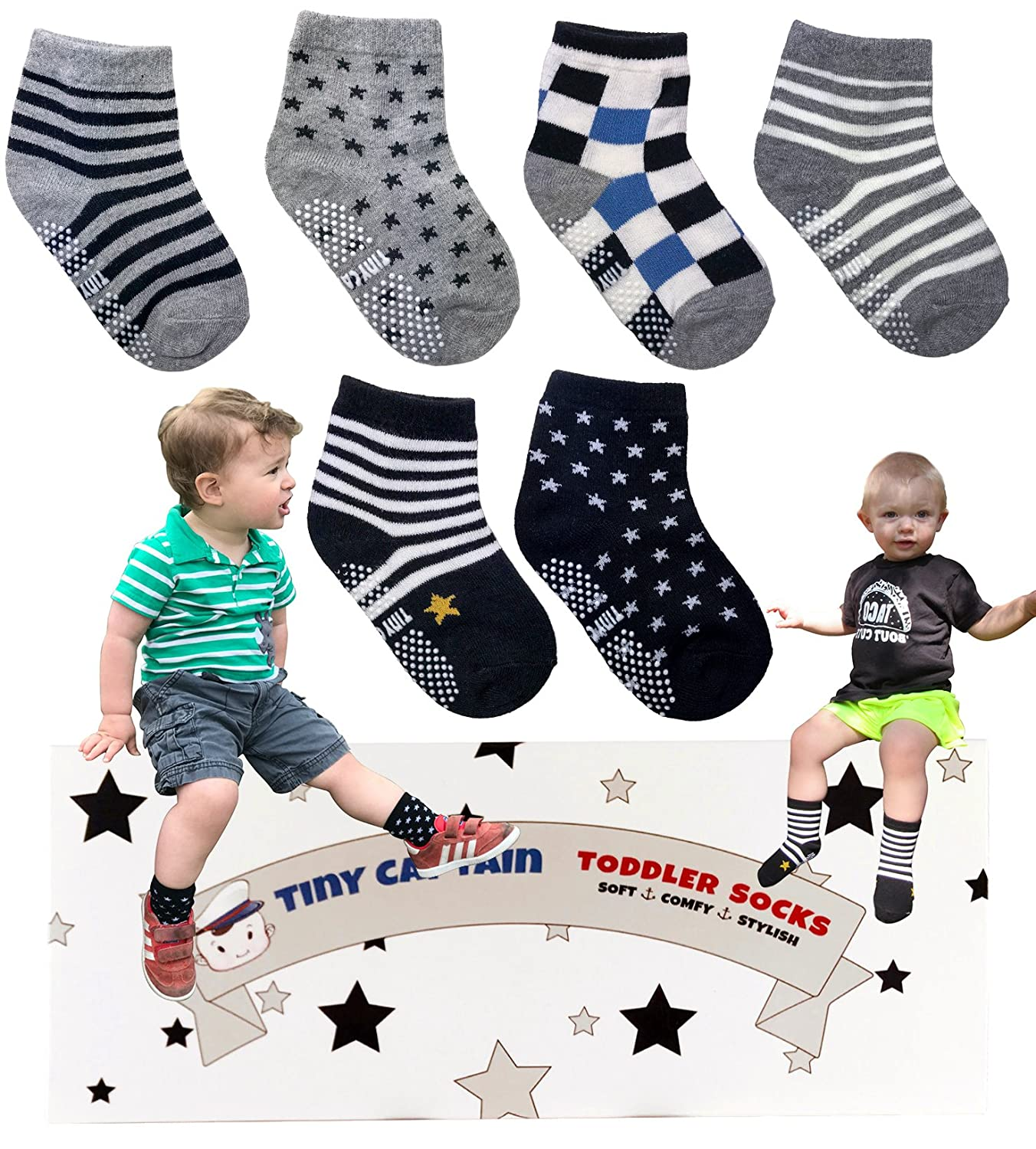 Best Gift for 1-3 Year Old Boys Baby Gifts Anti Slip Non Skid Grip Socks Gift Set by Tiny Captain Toddler Boy Non Slip Socks Red and Black
