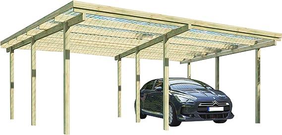 Carport Elbe 2 - Porche doble para garaje (5, 81 x 5, 10 m, madera): Amazon.es: Coche y moto