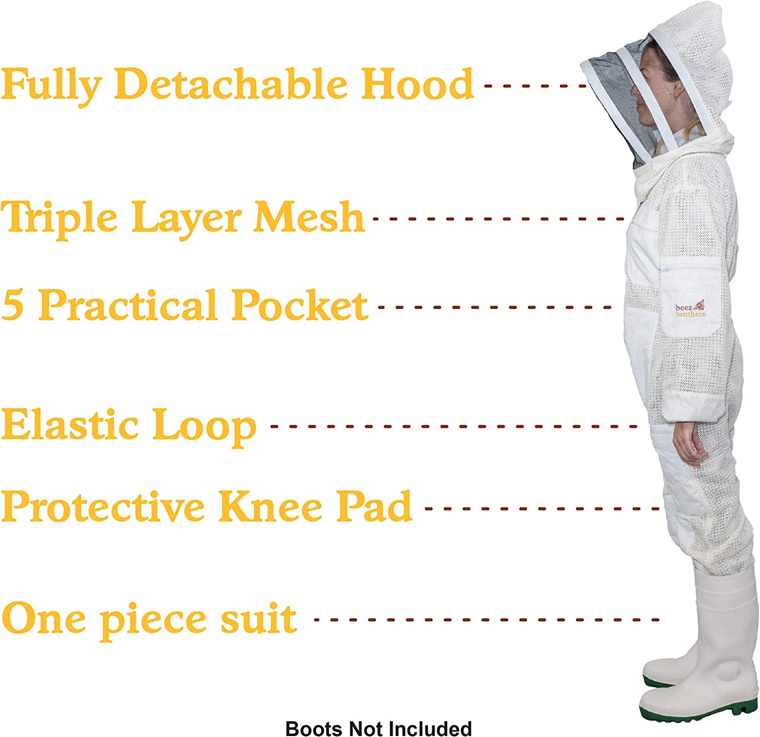 3 Layer Aerated//Ventilated Mesh Fabric for Heat Regulation Fits Professional and Beginner Apiarist BEEZ BROTHERS BEEKEEPING SUIT Beekeeper Costume Unisex with Veil for Maximal Protection