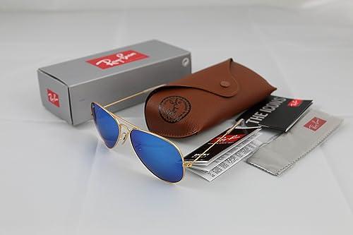 ec3055b9f6bcf Ray Ban Aviator Matte Gold Frame Blue Mirror Non-Polarized Lenses Size 58mm  (MEDIUM