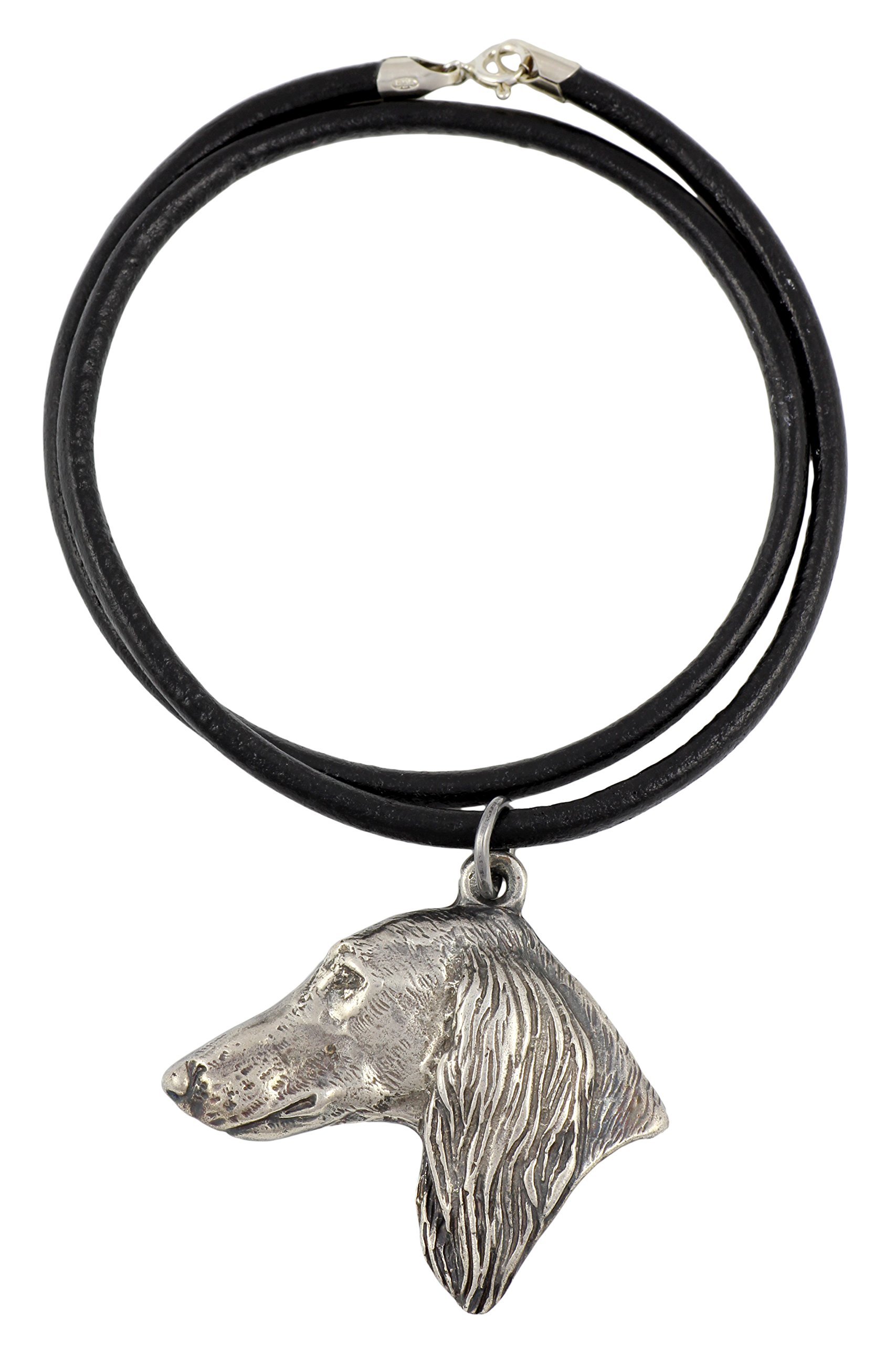Saluki (With Long Coat on Ears), Royal Dog of Egypt and Persian Greyhound, Gazelle Hound, Silver Hallmark 925, Dog Silver Necklaces, Limited Edition, Artdog
