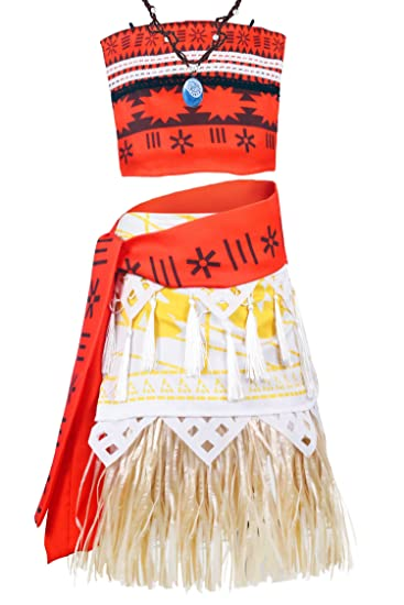 Girls Moana Dress Princess Costume Two-pieces Halloween Cosplay Dress Necklace Cheap Sales Costumes