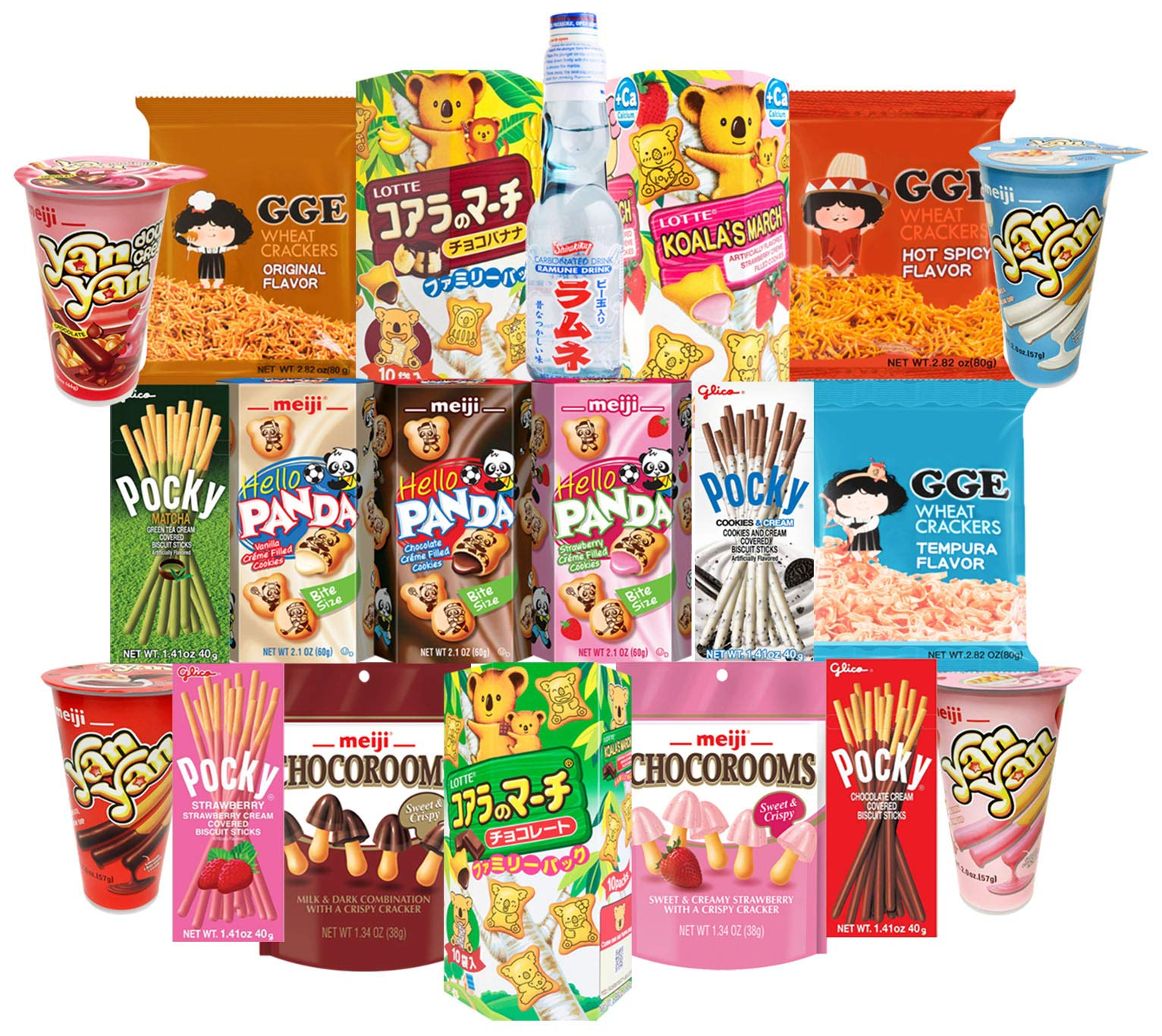 Japanese Snacks and Drinks Care Package Snack Gift Box (30 Count) - Assortment of Pocky Sticks, Yan Yan, Hello Panda, Koala, GGE, Pejoy, Candy, Ramune Soda, ITO EN Matcha Tea - Variety Pack Flavors by Snackscribe