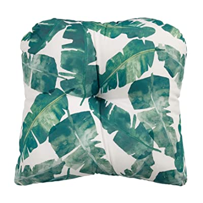 BrylaneHome Tufted Wicker Chair Cushion, Banana Leaf : Garden & Outdoor