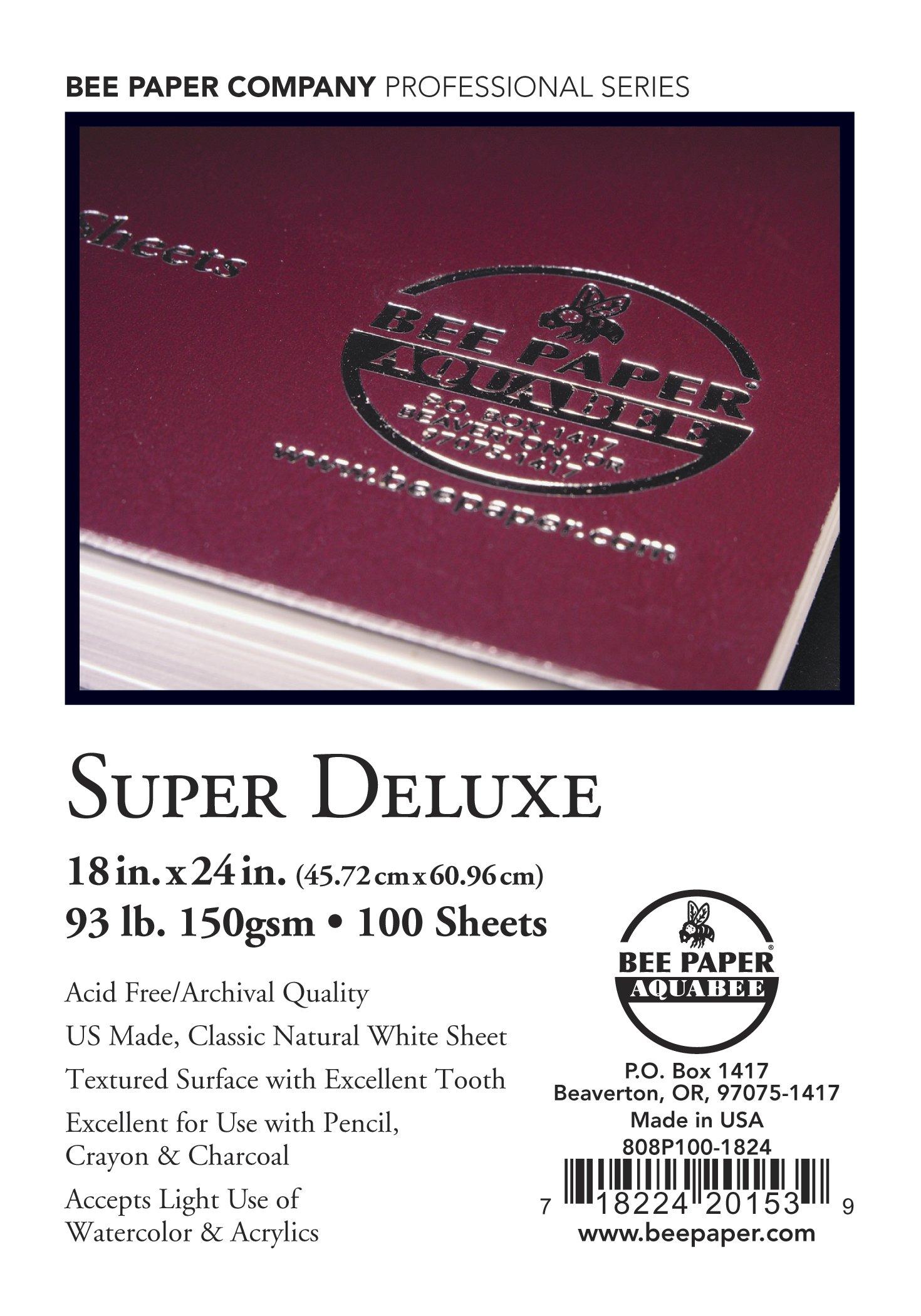 Bee Paper Company Super Deluxe Sketch Book, 18 by 24-Inch, 100 Per Sheet