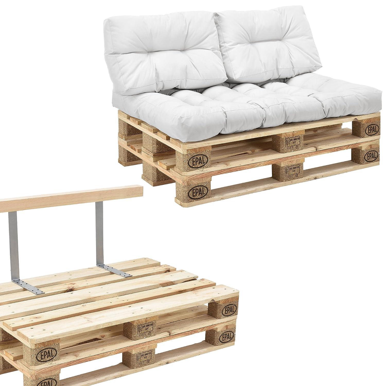 [en.casa] Euro Paletten-Sofa - DIY Möbel - Indoor Sofa mit Paletten-Kissen / Ideal für Wohnzimmer - Wintergarten (1 x Sitzauflage und 2 x Rückenkissen) Weiß - inkl. 2 Europaletten + Rückenlehne