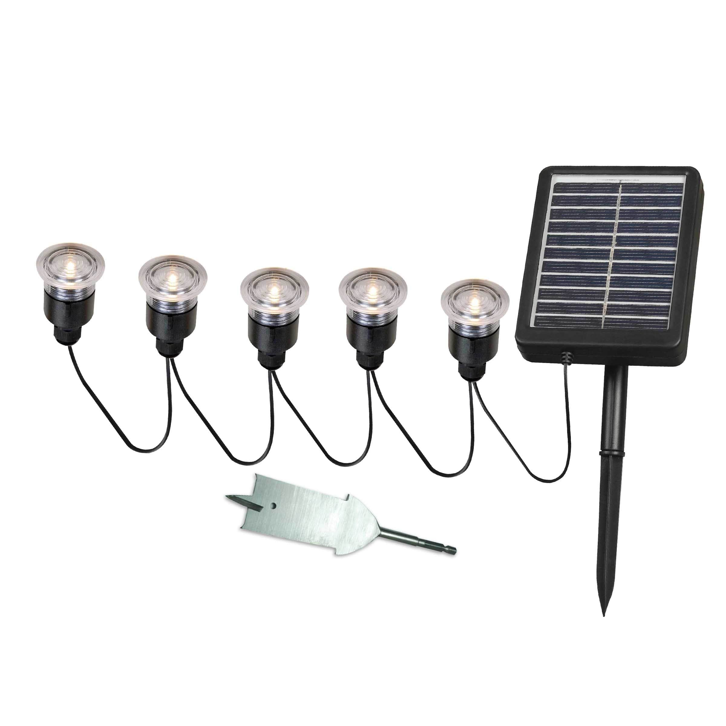 Design Craft Nova Solar Deck, Dock and Path Light 5-light String with Remote Panel by Design Craft