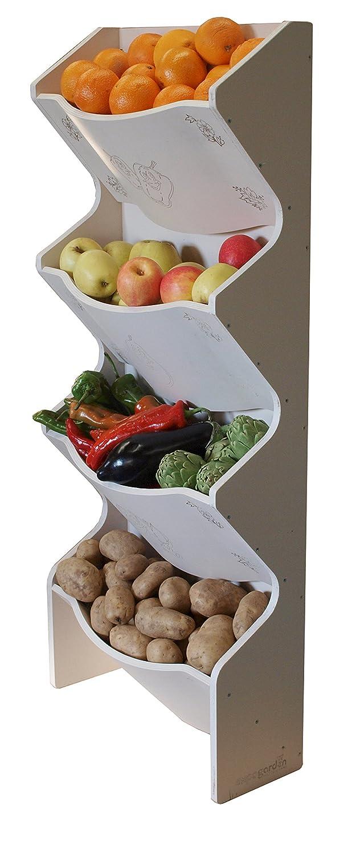 expovinalia Etagère verticale pour fruits et légumes - bois - blanc - 50 x 20 x 120 cm