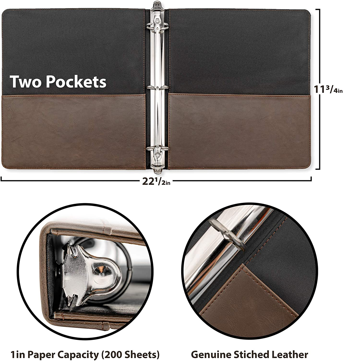 Appearance of Antique Brown Leather 2 Inner Pockets Vintage Professional 3 Ring Binder Organizer 1.6 Spine 1-inch Round Rings 8.5 x 11 Sheet Size