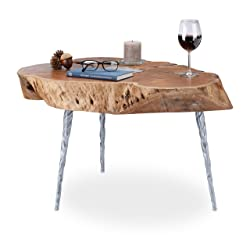 Relaxdays Table basse tronc arbre bois acacia rondelle table d'appoint ronde HxD 47,5 x 70 cm, nature