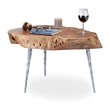 f139df787f43e Relaxdays Table basse tronc arbre bois acacia rondelle table d appoint  ronde HxD 47