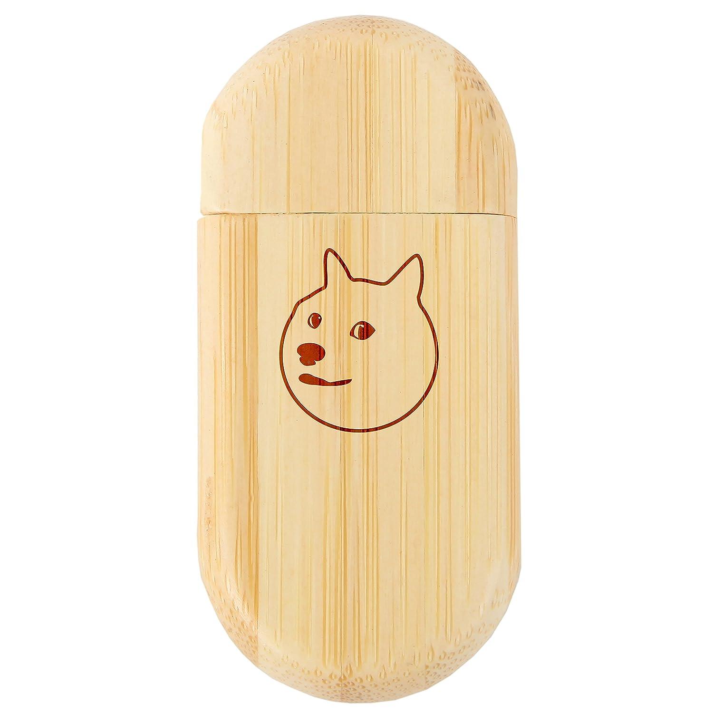Shiba Inu Face 8Gb バンブーUSBフラッシュドライブ 丸角 - レーザー彫刻付き木製フラッシュドライブ - 8Gb USBギフト あらゆる機会に B07G1R6QB2