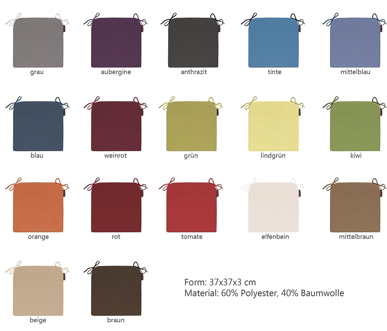 Amazon.de: Stuhlkissen Fino Form 15 in vers. Farben mit Schlaufen ...
