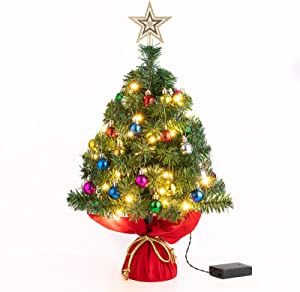 Sunnyglade 22Inch Tabletop Christmas Tree Mini Artificial Christmas Tree with 30 LED Lights & 24 Pcs Christmas Ball for Table Top Desk Classic Series Holiday Decoration (Green)
