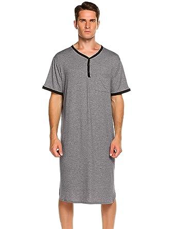 f9836213b6d Ekouaer Men s Nightshirts Short Sleeve Nightwear Henley Sleepshirt Kaftan  Pajama with Pocket