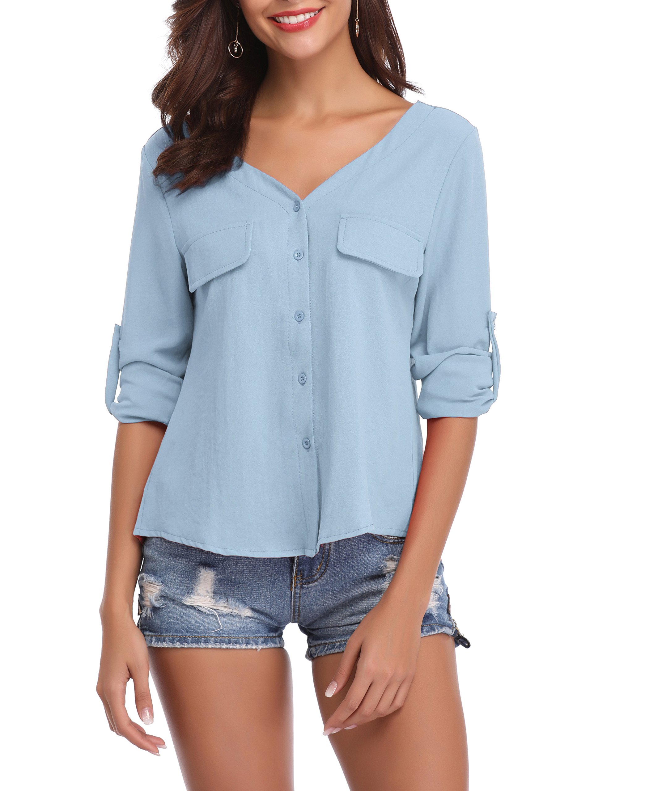 LYHNMW YHNMW Women's Casual Button Down Shirt Loose Roll-up Sleeve Tops Chiffon V-Neck Blouse