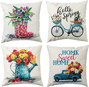 hogardeck Spring Pillow Covers 18x18, Decorative Throw Pillow Covers Set of 4, Home Sweet Home Burlap Sofa Pillow Case, Hello Spring Cushion Covers with Truck, Bicycle, Decorations for Home