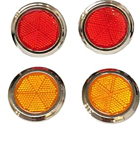 4-Pack of 2 inches Large Round Plastic Peel and Stick Adhesive Safety Reflective Reflectors (2pcs Red / 2pcs Orange) for Car Boat Bike Street Sign Mailbox Children Scooter Stroller Wagon Golf Cart