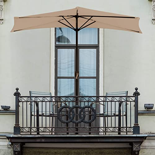 Pure Garden 50-LG1044 Half Round Patio Umbrella