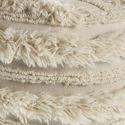 LR Home Fluffy Fur Ottoman Pouf 12″X16″ Ivory