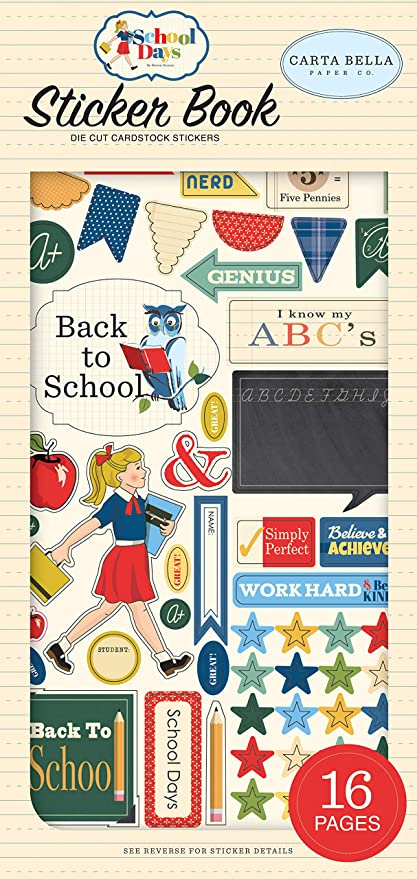Carta Bella Paper Company School Days 6x13 Phrases chipboard yellow green red navy