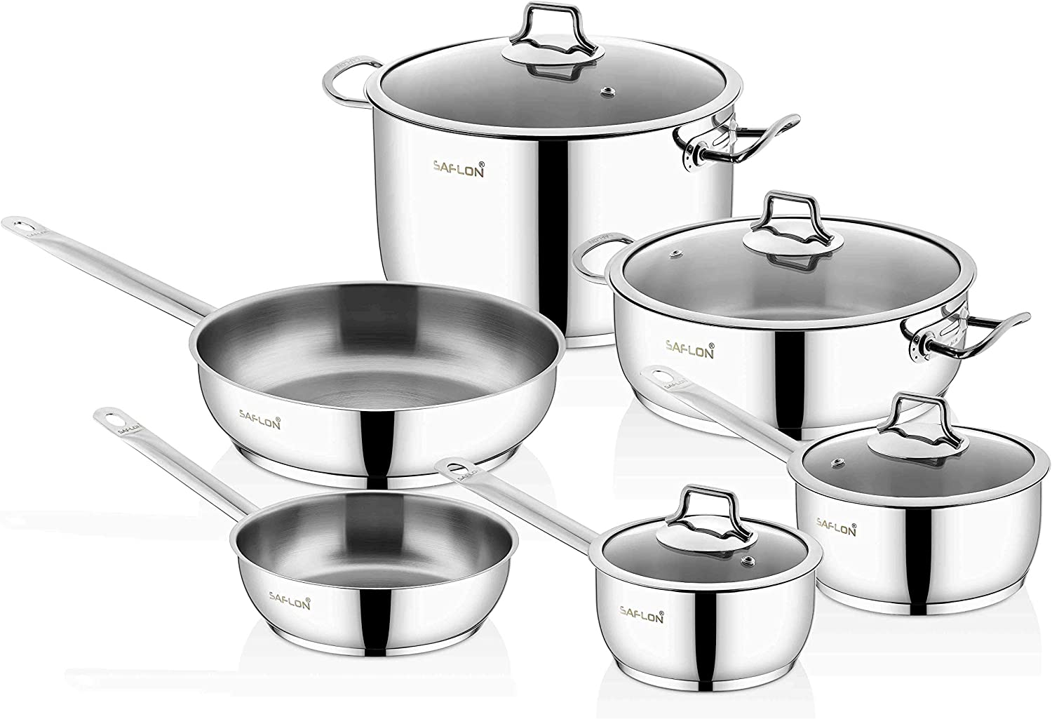Saflon Stainless Steel Tri-Ply Capsulated Bottom 10 Piece Cookware Set, Induction Ready, Oven and Dishwasher Safe