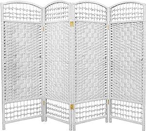 Oriental Furniture 4 ft. Tall Fiber Weave Room Divider - White - 4 Panels
