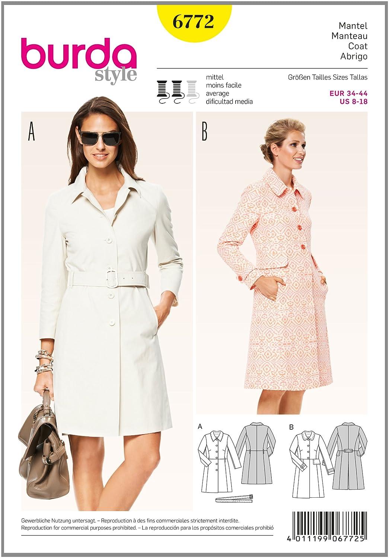 Burda 6772 - Cartamodello per cappotto da donna burda style B6772