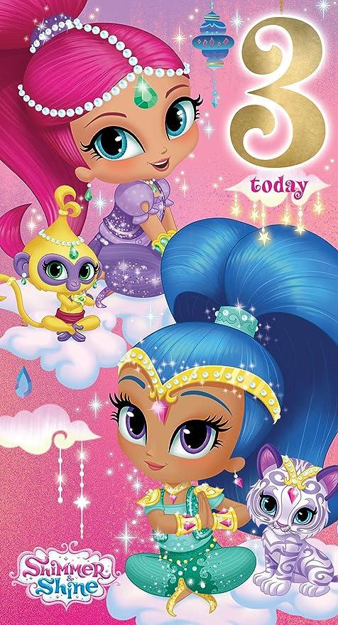 Shimmer y brillo si007 edad 3 Tarjeta de cumpleaños: Amazon ...