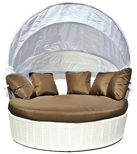 Luxurygarden - Sofá diseño Redondo de ratán de jardín Chaise ...