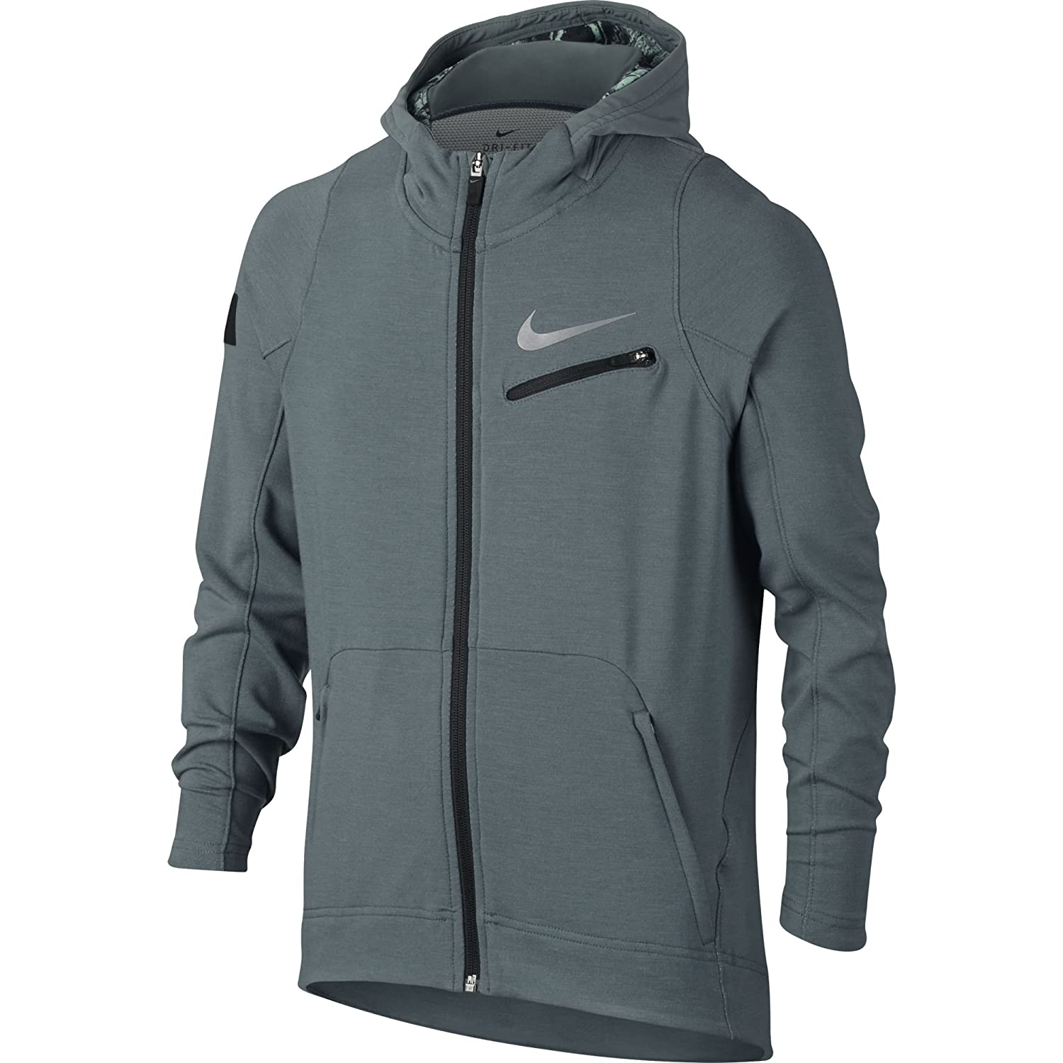 5af4a44a5c78 Amazon.com  Nike Boy s Therma KD Hyper Elite Hoodie Hasta Black Metallic  Silver Size Small  Sports   Outdoors