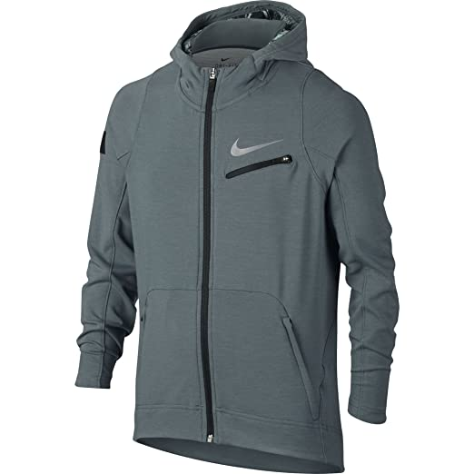 c4caa7e98c11 Nike Boy s Therma KD Hyper Elite Hoodie Hasta Black Metallic Silver Size  Small