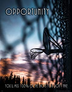Apple Creek Basketball Motivational Poster Art Print 11x14 Opportunity School Classroom College Wall Decor Pictures