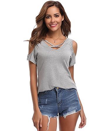 Tee Shirt Femme Dentelle Col V Manches Courtes Haut Femme Chic Été Élégant  Sexy T Shirt 192f5b3a620