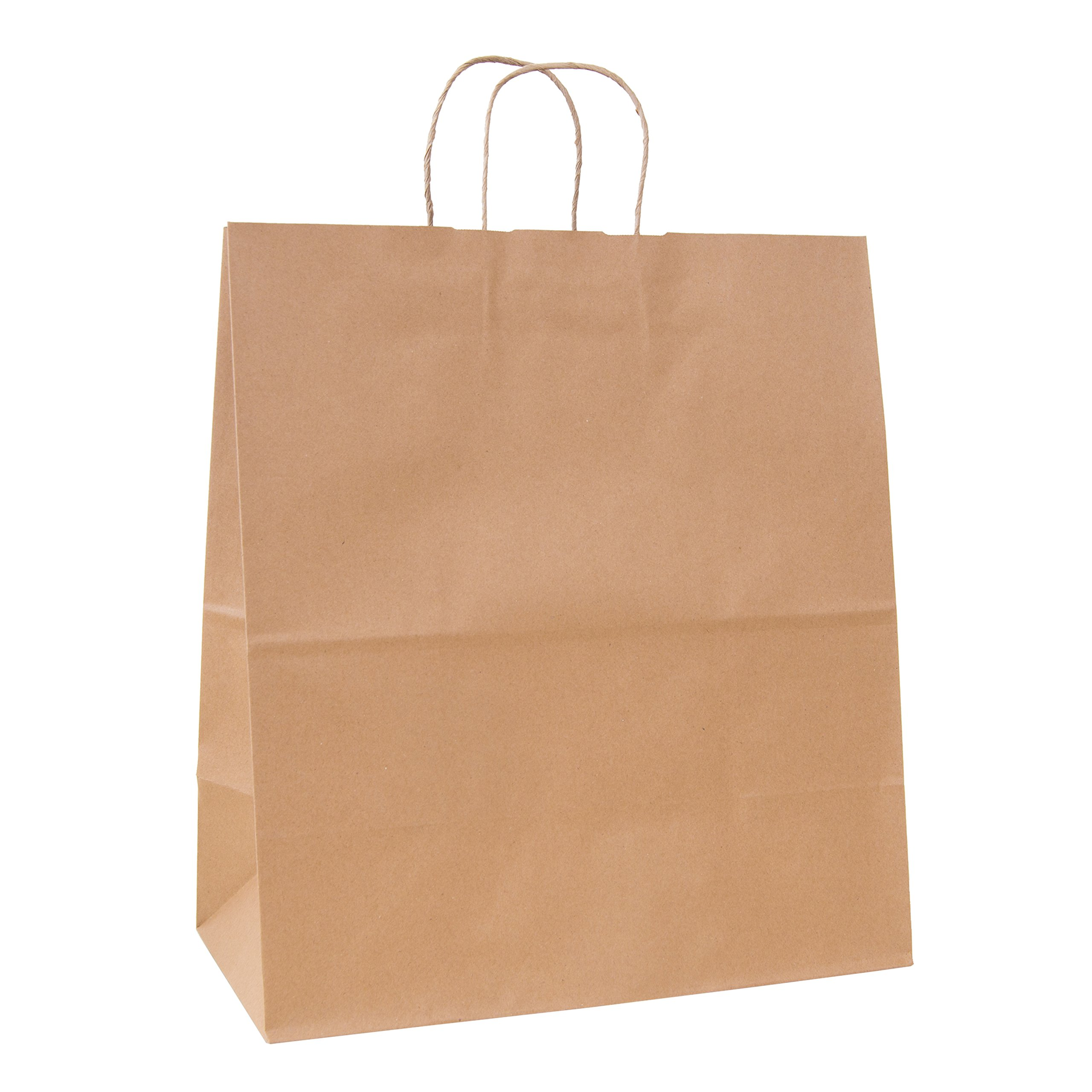 Incredible Packaging - 18'' x 7'' x 18'' Jumbo Kraft Paper Bags with Handles for Shopping, Retail and Merchandise. Strong and Reusable - 80 Paper Thickness- 100% Recycled (120, Brown) by Incredible Packaging (Image #2)