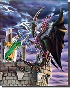 Storm Warning Dragon Wizard Fantasy Wall Decor Art Print Poster (16x20)