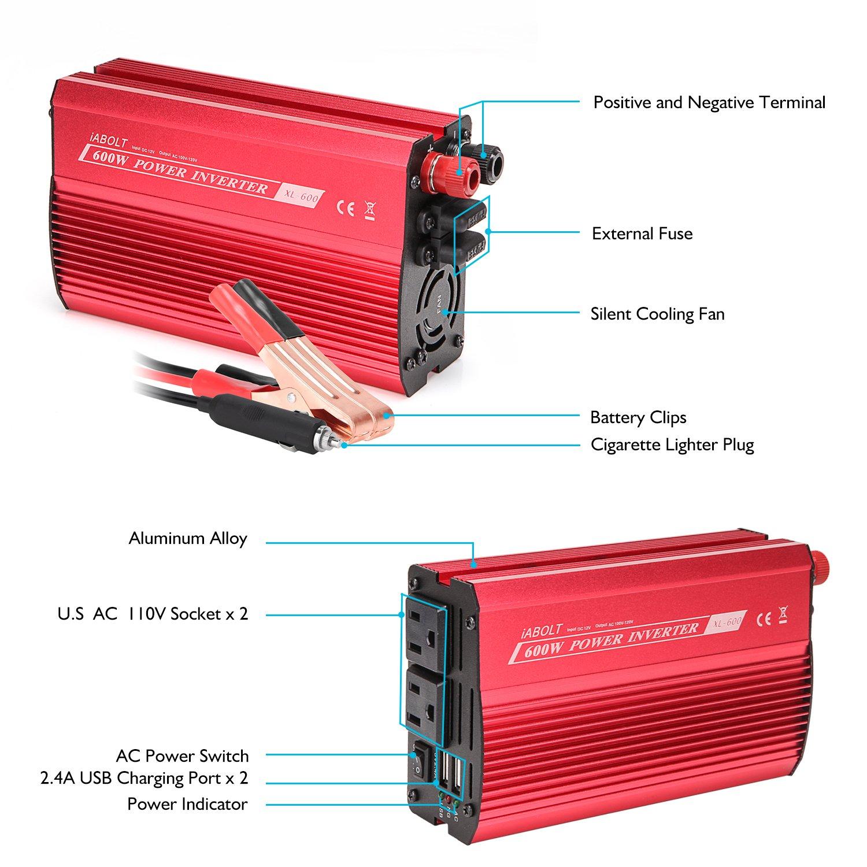 IABOLT 600W Power Inverter, DC 12V to 110V AC Car Inverter with 4.2A Dual USB Car Adapter