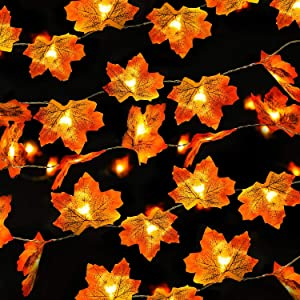 Rocinha Lighted Fall Garland Thanksgiving Decorations Maple Leaves Garland with Lights, 7.2 Ft 20 LED, Pack of 2, Total 40 LED & 14.4 Ft