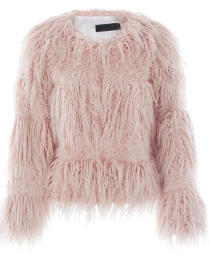 Ropa de invierno calido Simplee mujeres Shaggy faux Rur larga chaqueta de abrigo Abrigos Rosa: Amazon.es: Ropa y accesorios