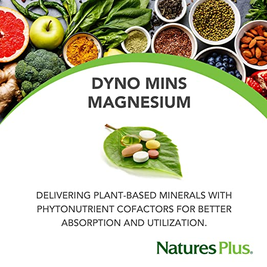 Amazon.com: Natures Plus Dyno Mins Magnesium - 250 mg, 90 Vegetarian Tablets, Acid Resistant - Bone Health Support Supplement, Promotes Heart Health, ...
