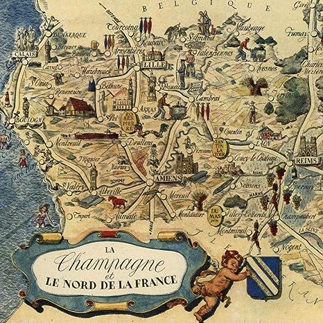 Map Of France Cartoon.Amazon Com Champagne France Small Cartoon Map C 1950 Decorative