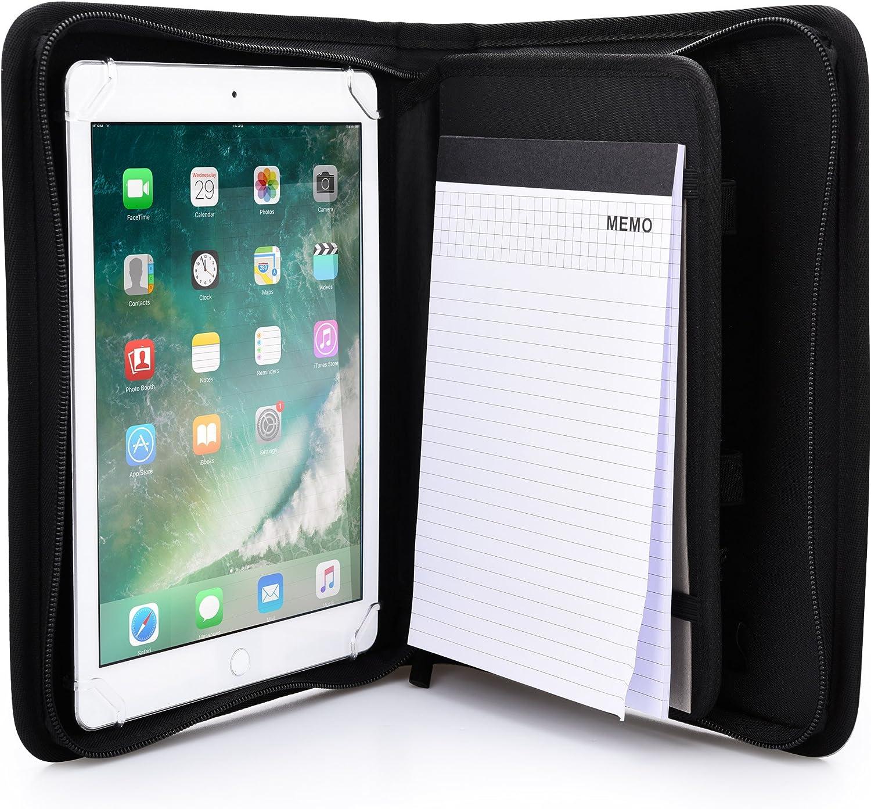 Apple iPad Air 1 /& 2 Case Cover Khomo PadFolio Black Notepad Holder /& Pockets