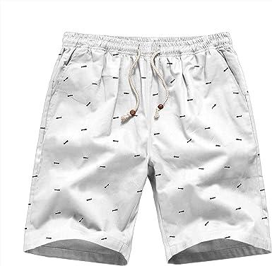 PIZZ ANNU Pantalones Cortos de algodón de Lino para Hombres: Amazon.es: Ropa y accesorios