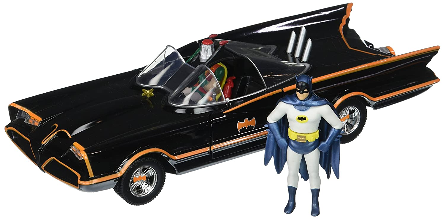 Jada Toys DC Comics 1966 Classic TV Series Batmobile with Batman and Robin figures; 1 24 Scale Metals Die Cast Collectible Vehicle