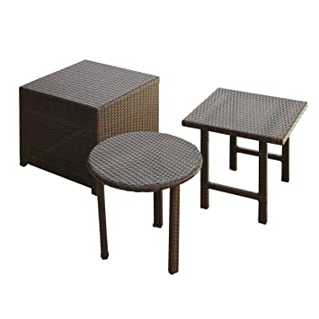 Amazon.com : Best Selling Palmilla Wicker Table Set, Multibrown ...